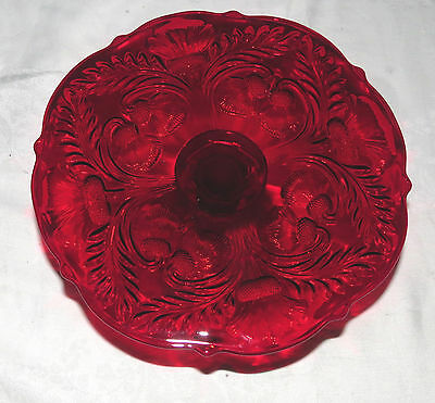 """Mosser Glass Cambridge Ohio Ruby Red 11"""" Pedestal Cake Plate Thistle Pattern"""