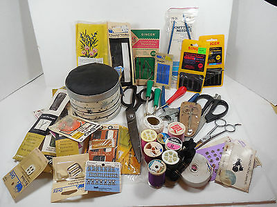 Vintage Mixed Lot Sewing Hobbie Craft Tools Threads Needles Scissors Buttons Can