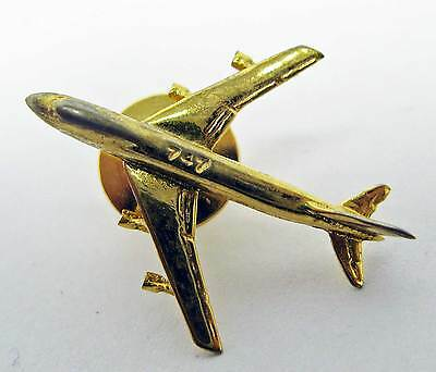 """1"""" gold plated Boeing 747 jet plane lapel pin M"""