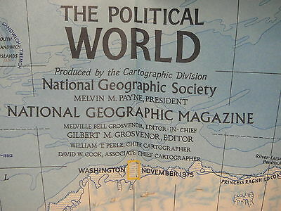 Vintage 1975 National Geographic Map of the Political and Physical World