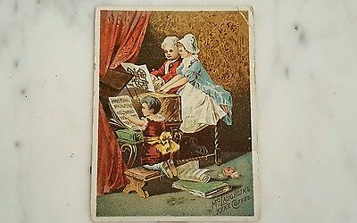 Antique McLaughlin's Coffee Advertising Collectible Card Music Lesson Scene