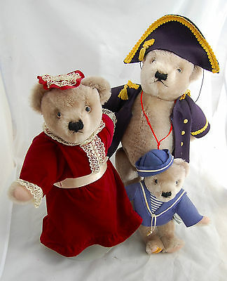 Merrythought Teddy Bear Family Admiral Wife Salior Son England Mohair Jointed