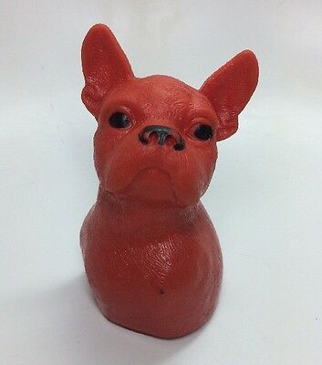 Vintage Baby Toy Red Boston Terrier  Squeaker Squeaky French Bulldog   Dog Pup