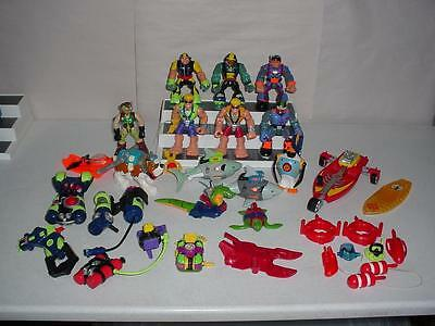 Lot 27 Fisher Price SCUBA RESCUE HEROES Vehicles Figures Backpacks Animals BEACH