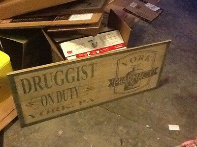 Early York PA Druggist RX Pharmacy Wooden Trade Sign Free Shipping