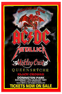 Heavy Metal: Monsters of Rock: AC/DC, Motley Crue &  Queensryche Poster 1991