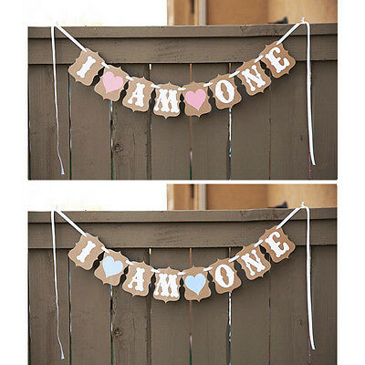 Vintage 1st Birthday Party Bunting Banner Baby Girl Pink Decoration I Am One