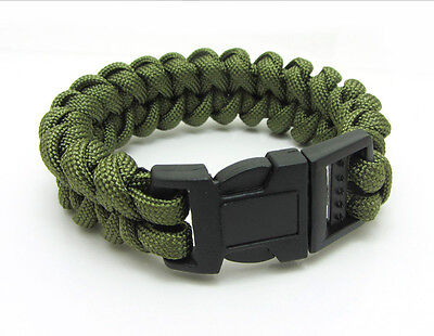 New Paracord Parachute Rope Bracelet Wristband Survival Hiking Army green