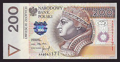 POLAND  -  200 zlotych,1994  -  first series AA  -  P 177a  -  UNC