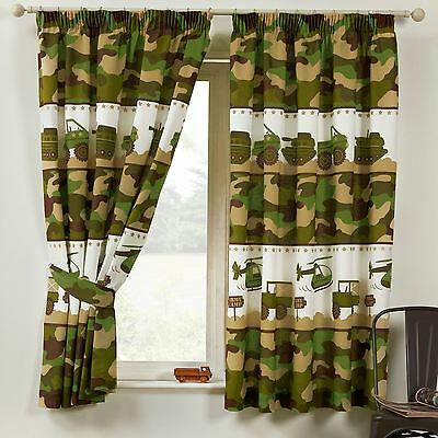 """ARMY CAMP CAMO MILITARY 66"""" x 54"""" LINED CURTAINS CAMOUFLAGE BOYS"""