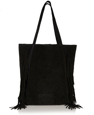 New Womens Superdry Premium Suede Neo Nomad Fringed Tote Bag Black