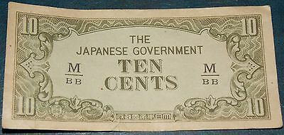 1944 Japanese Government Malaya Occupation 10 C Ten Cents Banknote  Vgc