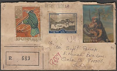 Bhutan Registered Multiple Franked Cover To India With 3D Value Etc