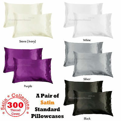 PAIR of 300TC Deluxe Essentials SATIN Standard Pillowcases - 4 Color Choice
