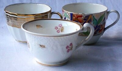 C19Th Davenport Staffordshire Hand Painted Bute Shape  Cup And Two Others