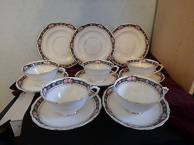 Tuscan English Fine China Gorgeous 13 Piece Tea Set With Wide Cups