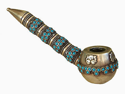 antik-look orient indo-Persian Pfeife Antique Style Opium Vintage Pipe Türkis A