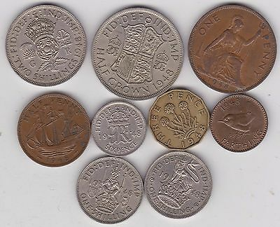 1948 George Vi Set Of 9 Coins In Very Fine Or Better Condition