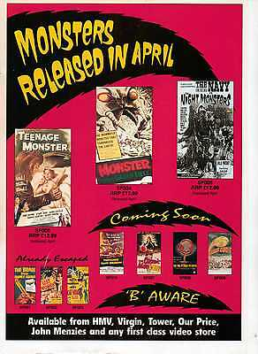 A4 Original Advert for the Video Release of Monsters Released In April B Movies