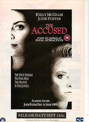 A4 Original Advert for the Video release of The Accused Jodie Foster