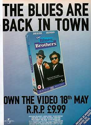 A4 Original Advert for the Video Release of Blues Brothers John Belushi