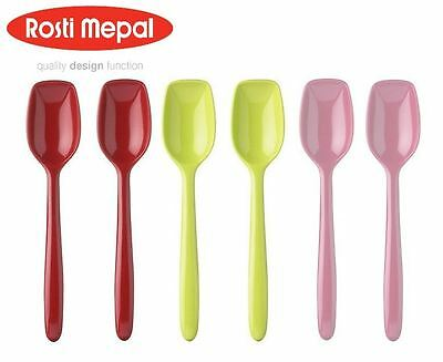 Rosti Mepal Set of 6 Melamine Non Stick Small Spoons, Various Colours