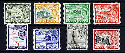 ST. CHRISTOPHER-NEVIS ANGUILA QE II 1954-63 Part Set SG 106a to SG 114 MINT