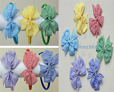 girls school hair bow bobbles clips alicebands headband hair tie gingham plaid