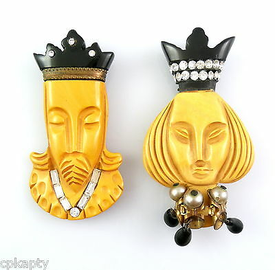 RARE Pair Vintage 1930s Hand Carved Bakelite CHESS King & Queen DRESS CLIPS