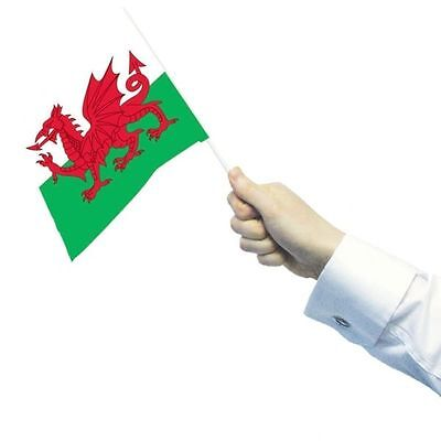 Wales Welsh Dragon Sports Day Garden Fete 12 Hand Waving Flags Decoration 993969