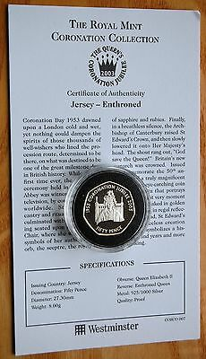 Jersey 2003 Coronation Jubilee Enthroned Silver Proof 50p Coin & COA #