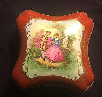 Antique Amgoes Hand Painted Trinket/Jewerly Box