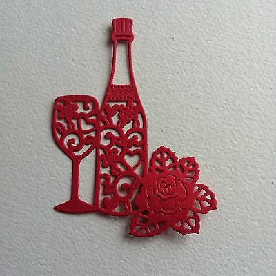 8 X Champagne/wine Bottle Glass & Rose Die Cut Shapes-Raspberry Pink-Birthday