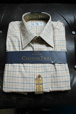 UNUSED VINTAGE ST MICHAEL (for M&S) MENS SHIRT - Country Check - 14 1/2""
