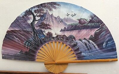 Vintage Japanese Oriental Hand Painted Large Bamboo Wall Fan Bonsai Waterfall