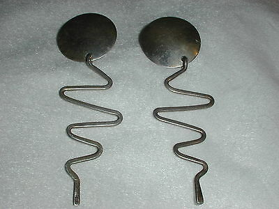 Great! Long Sterling Abstract Modernist Earrings- Really Wild!
