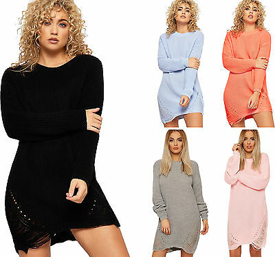 Womens Distressed Knitted Jumper Dress Top Ladies Long Sleeve Cable Ripped Plain