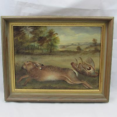 Antique Hare And Game Study Oil On Canvas R Hutchinson Irish Painting 19Th C