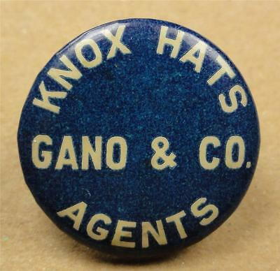 VTG Cello Pinback Button (New York) KNOX HATS AGENTS GANO & CO. 22mm pin ME1383