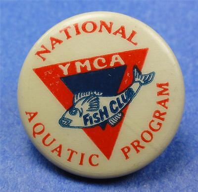 Old Cello Pinback Button YMCA FISH CLUB AQUATIC PROGAM (swimming) 22mm ME1405