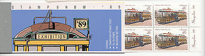 1989 Melbourne STAMP SHOW  trams booklet with Metpass & Entry ticket