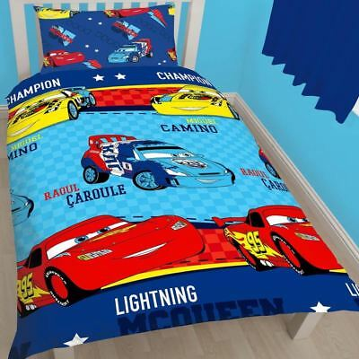 Disney Cars Piston Single Bed Reversible Duvet Set Quilt Cover Kids Bedding New