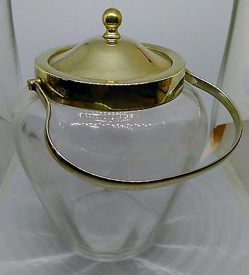 Vintage glass biscuit jar with GFB silver plate lid, handle and collar
