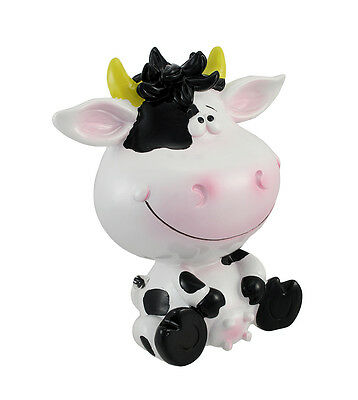 Silly Sitting Black and White Milk Cow Children`s Coin Bank