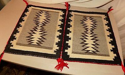 "VINTAGE WESTERN tightly WOVEN WOOL TABLE RUGS set of two 11"" X 13"" each rug"