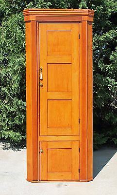 19th Country Primitive Solid Pine Corner Cupboard w Reeded Columns Square Nails