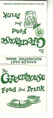 Matchbook Cover !  The Greenhouse Food & Drink, Rochester, Minnesota !