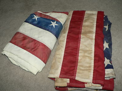 Lot 2 America USA Flags - Valley Forge Nyl-Glo Faded Rustic Vintage 3X5 Flown