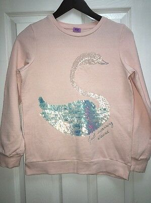 Girls Pink Sweatshirt Age 12-13 Swan Sparkle Sequin Good Con F&F