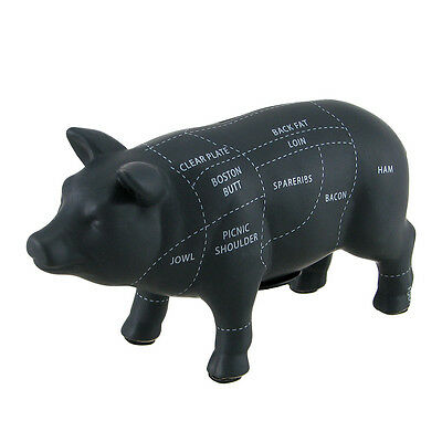 Black Ceramic Pig Shaped Coin Bank Butcher Chart Piggy Bank 4 1/2 in.